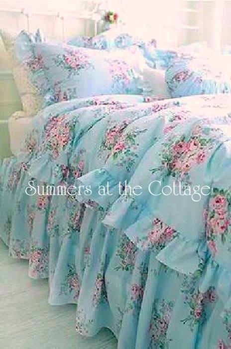 Shabby Chic Pink Roses Bedskirt