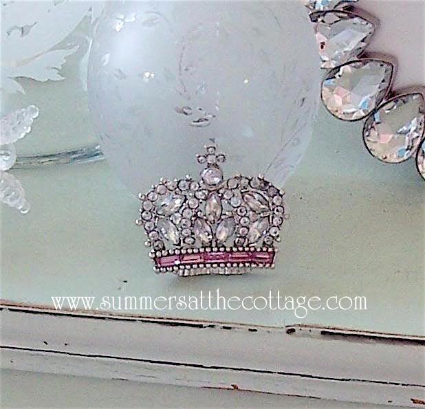 Rachel Ashwell Crown Rhinestone Pink Jeweled Pin