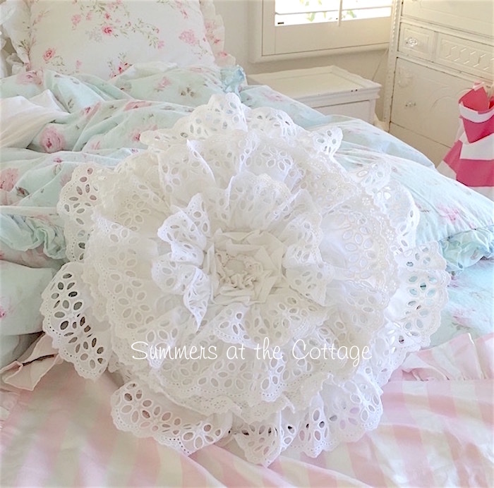 Darling Lacy White Ruffle Round Pillow