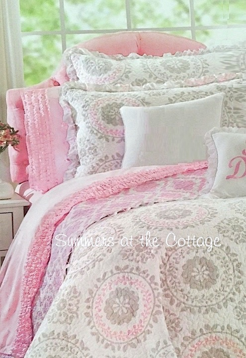 Circles of Love Dove Gray Pink Ruffles Bedding