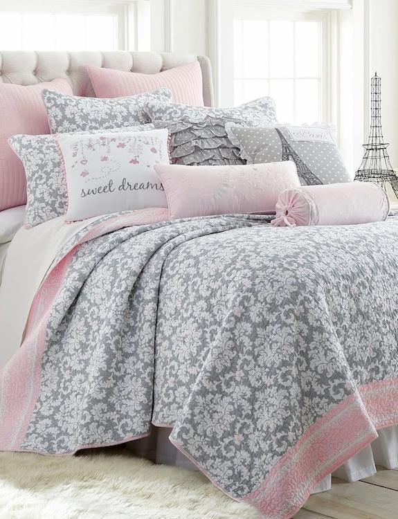 Dove Gray Pink Cabana Stripes Damask Bedding