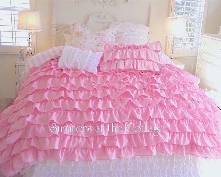 Dreamy Pink Ruffled Comforter Set