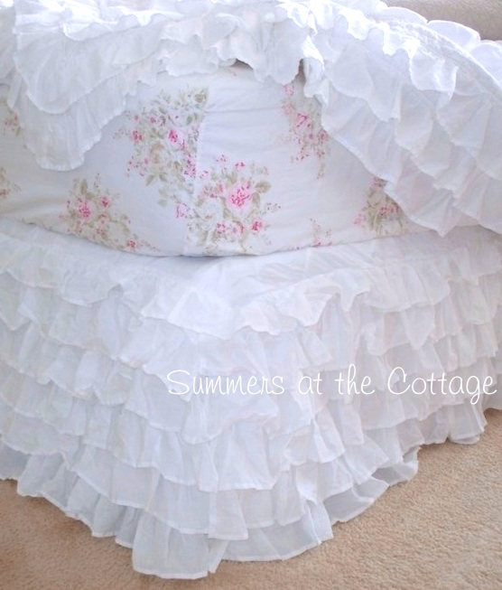 Dreamy White Ruffled Bed Skirt
