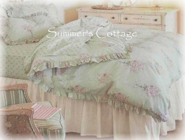 Rachel Ashwell Shabby Chic Pink Roses Mint Green Ruffle
