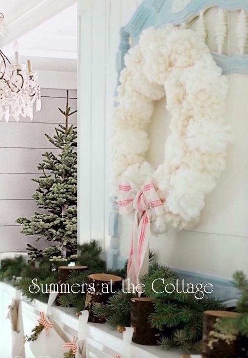 Shiny Brite Christmas Holiday Pom Pom Wreath