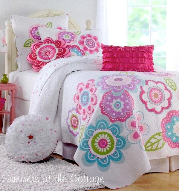Happy Flowers Aqua Blue Lavender Pink Quilt Set