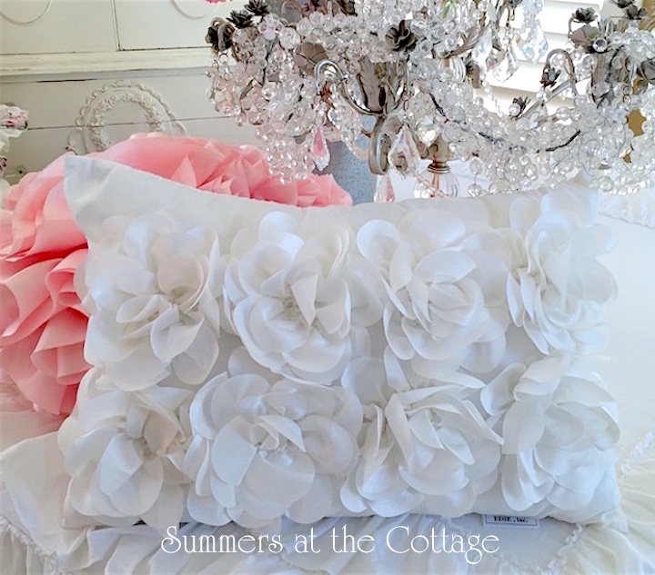 Whimsical Satin Flowers Accent Pillow