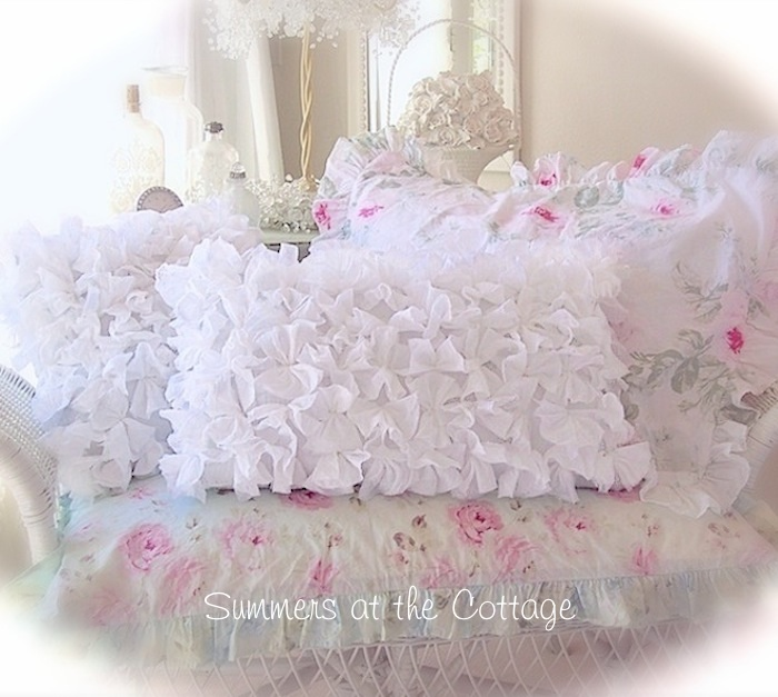 Fluffy White Ruffled Pillow
