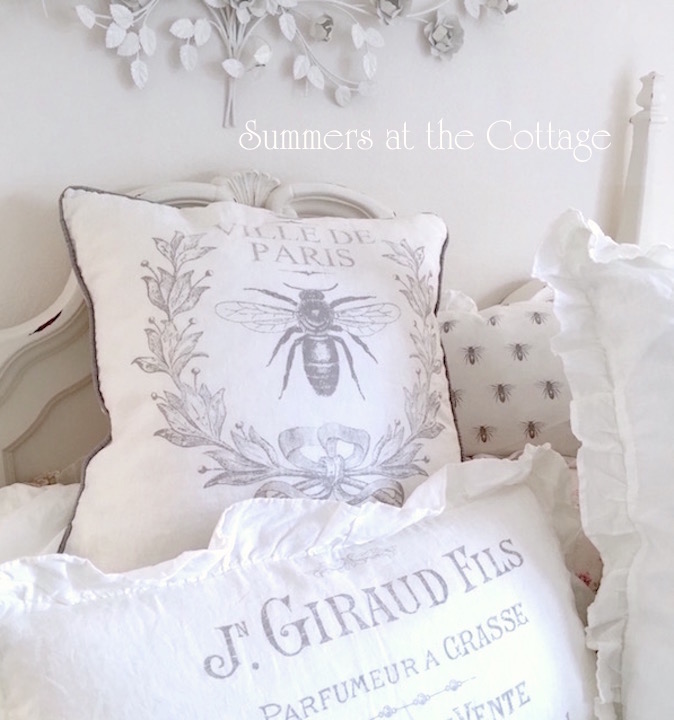 French Bee Linen Pillow