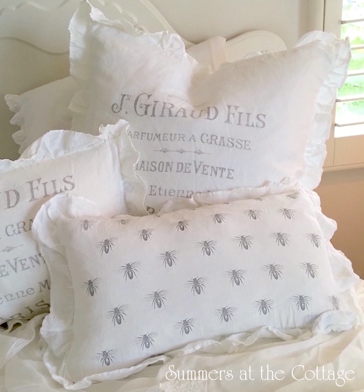 French Farmhouse Bees White Ruffle Linen Pillow