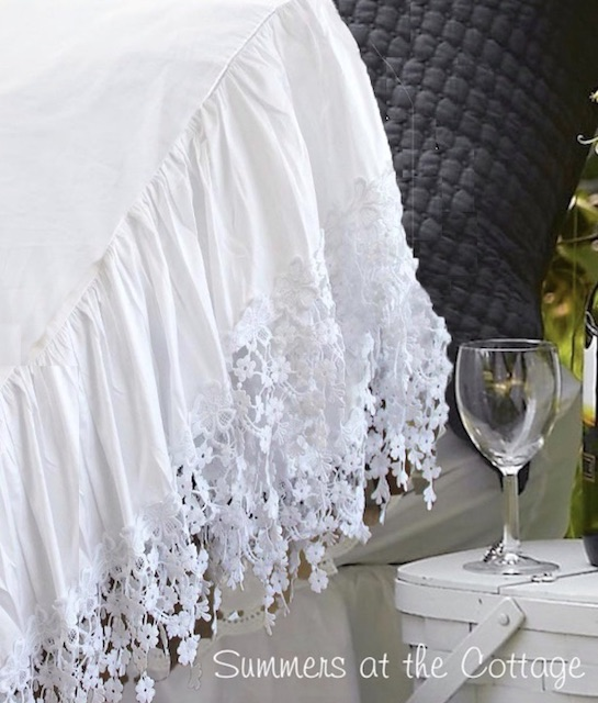 French Chateau White Lace Ruffle Pillowcases