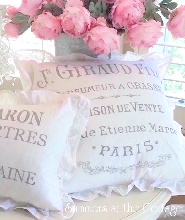 White Linen Ruffle French Lettered Pillows