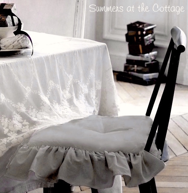Attrayant A Beautiful Accent For Your Shabby Chic, Cottage, Or French Country Home.  To Create A Double Ruffle, Use Two Cushions On One Chair As Shown Below.