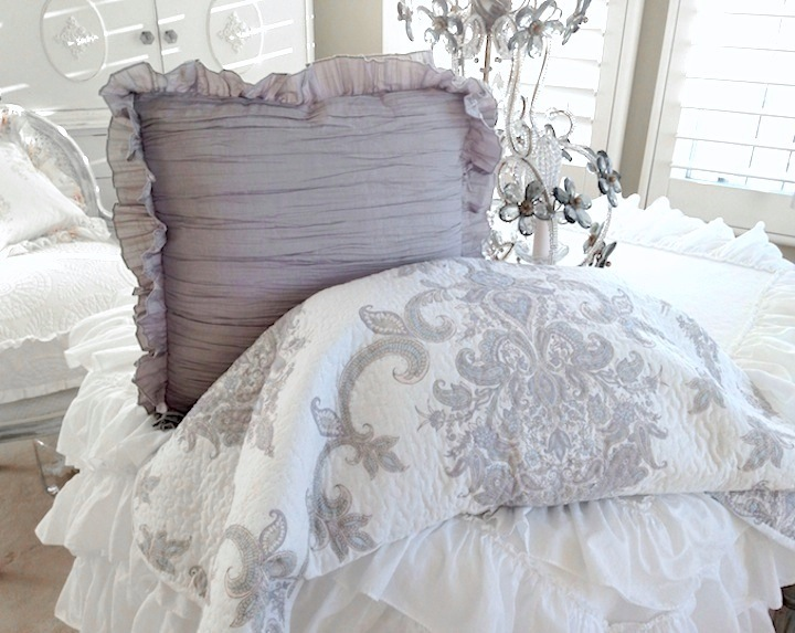 French Country Cottage Paisley Gray Taupe Lavender Blue