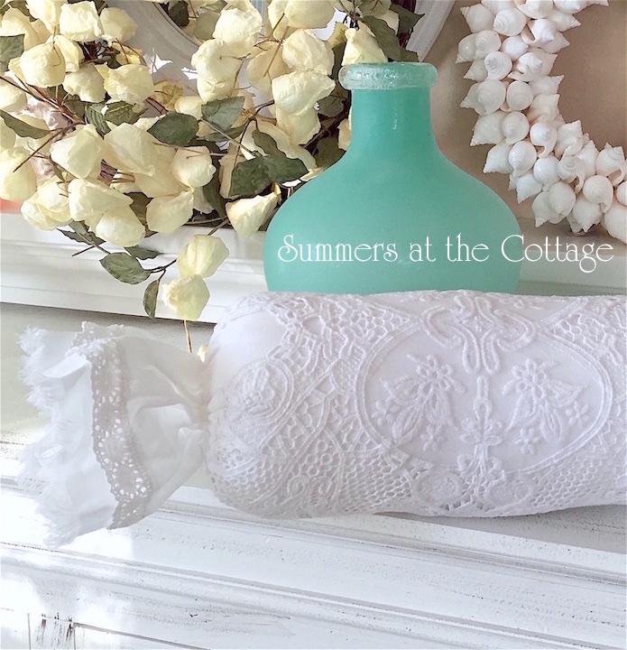 White Lace Netting Roses Ruffle Pillow