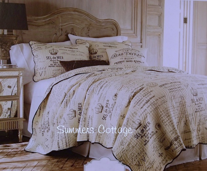 French Postcard Lettered Script Quilt Set