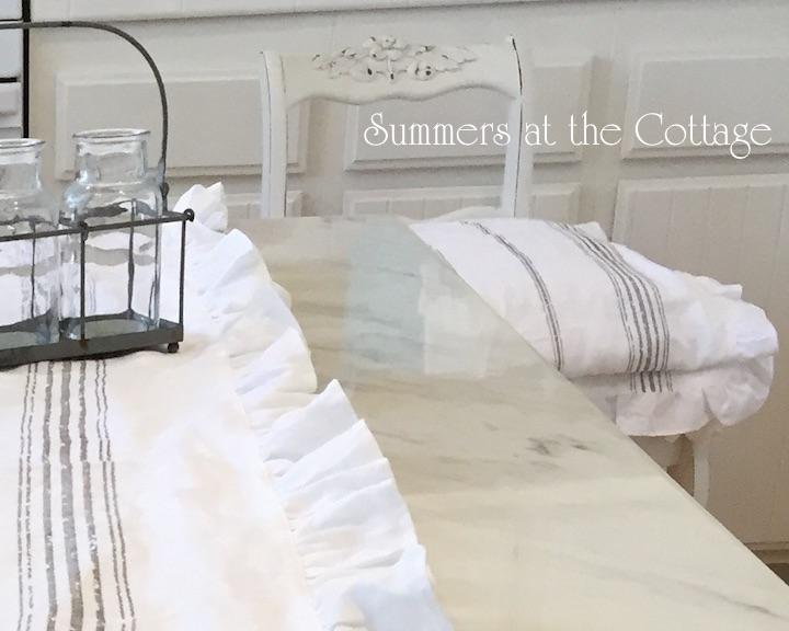 White Linen Grain Sack Stripe Ruffle Cushion