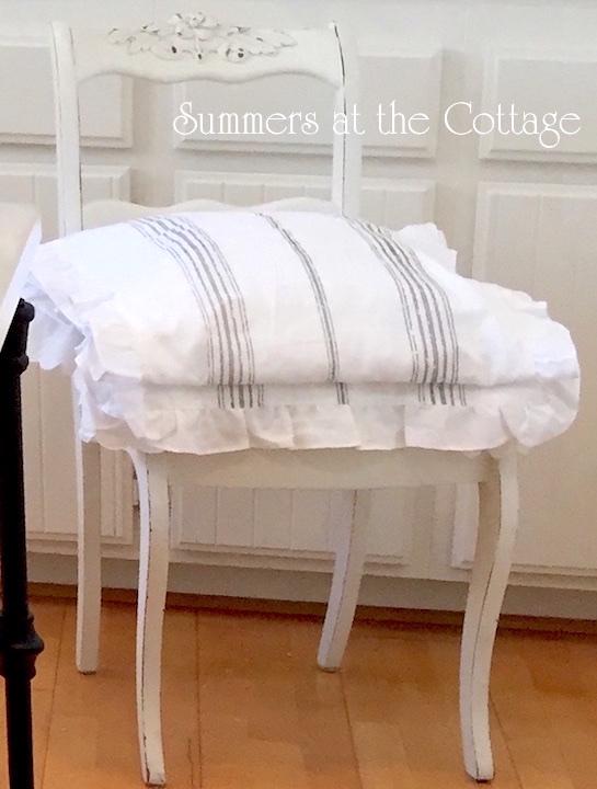 French Gray Stripes Ruffles Chair Cushion