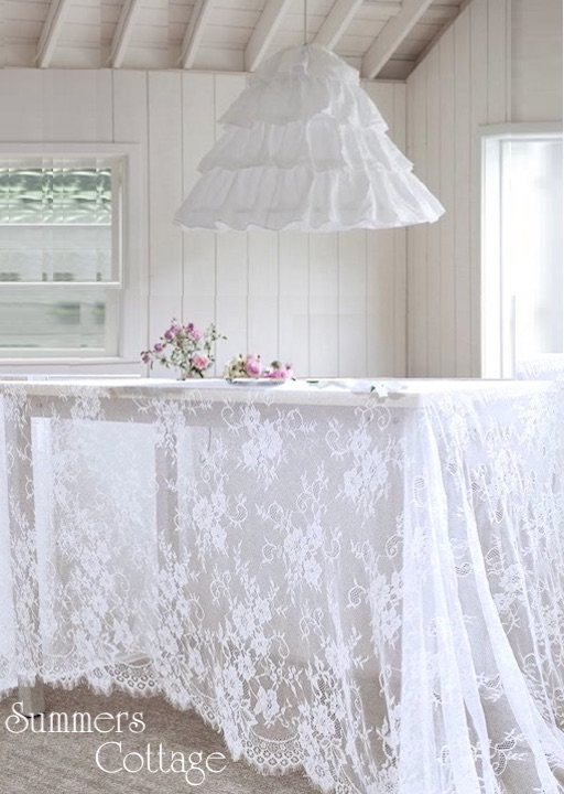 Shabby chic white lace roses
