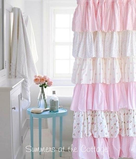 French Ruffle Cottage Colors Shower Curtain