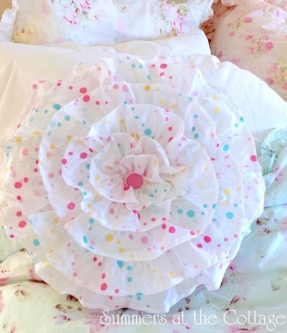 French Ruffles Round Pillow Pink Aqua Yellow Polka Dots