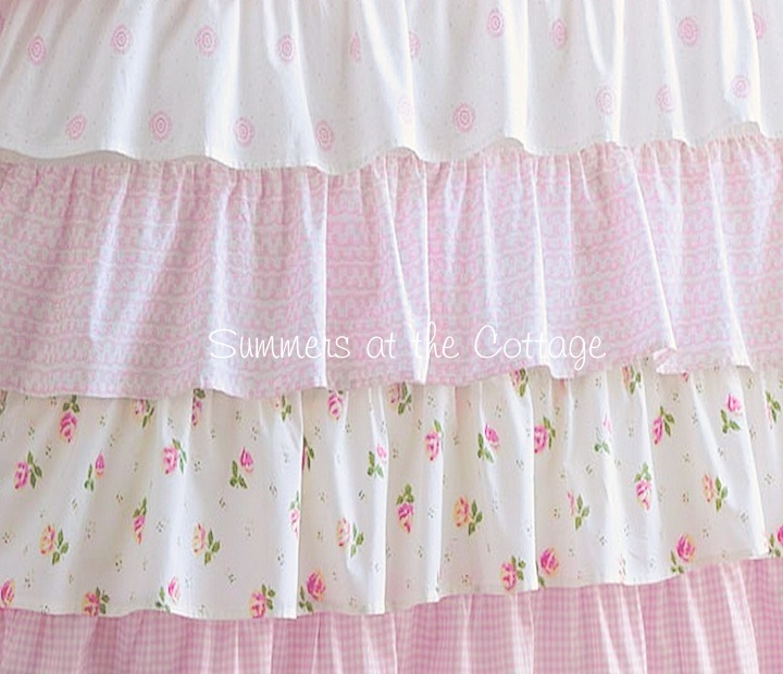 Spring Loaded Curtain Rods French Ruffle Shower Curtain