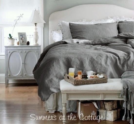French Gray Linen Duvet Set