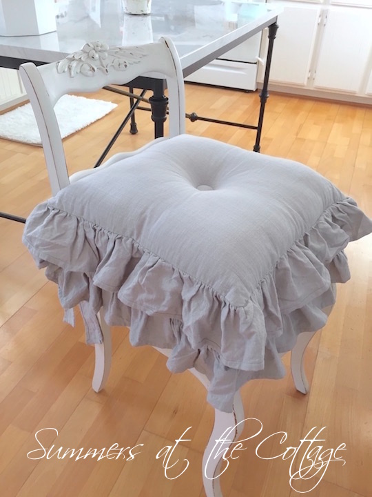 Farmhouse Gray Ruffle Chair Cushion