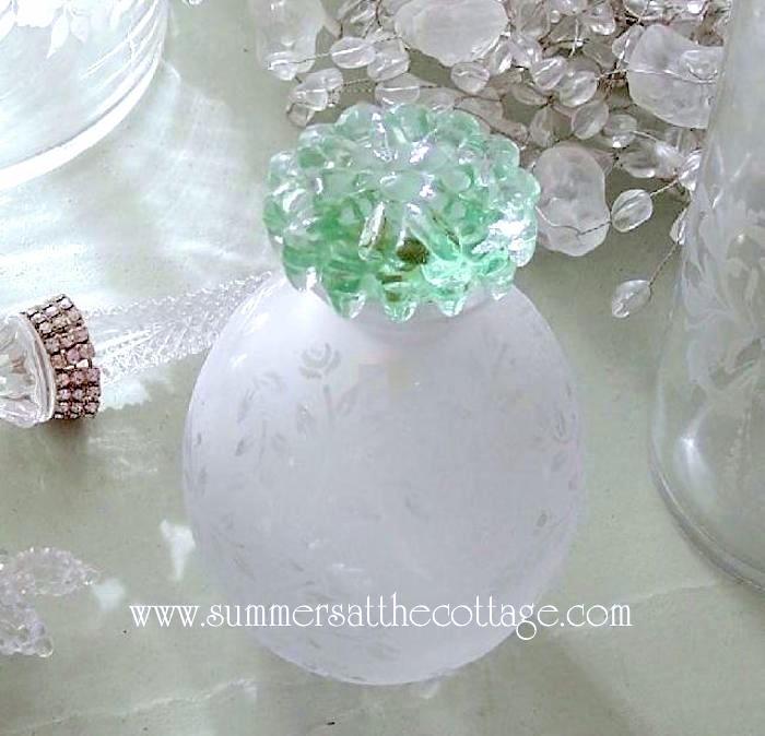 Green Glass Knob Drawer Pull