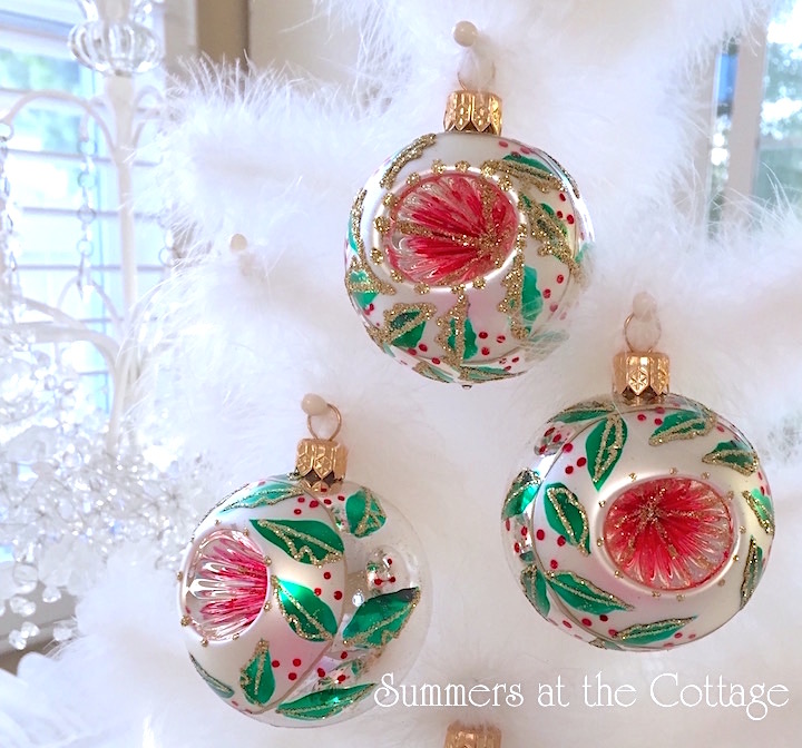 Green Holly Christmas Tree Ornament