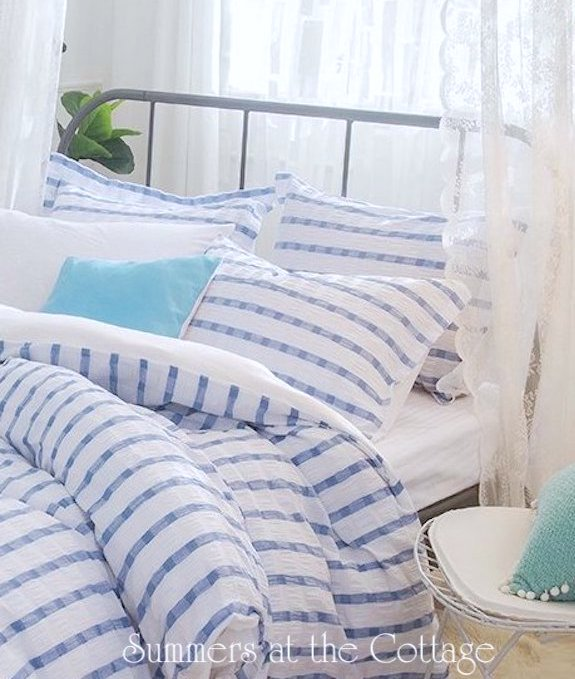 Coastal Blue White Stripe Duvet Set Hamptons Beach House