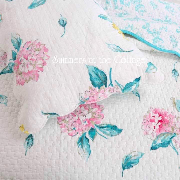 Hamptons Pink Aqua Hydrangea Quilt