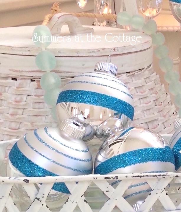 Shiny Brite Turquoise Stripe Glass Ornaments