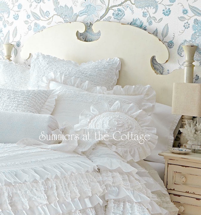 Neiman Marcus White Graceful Ruffles Pillow