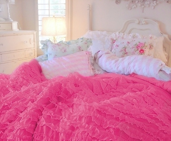 Hot Pink Ruffled Comforter Set