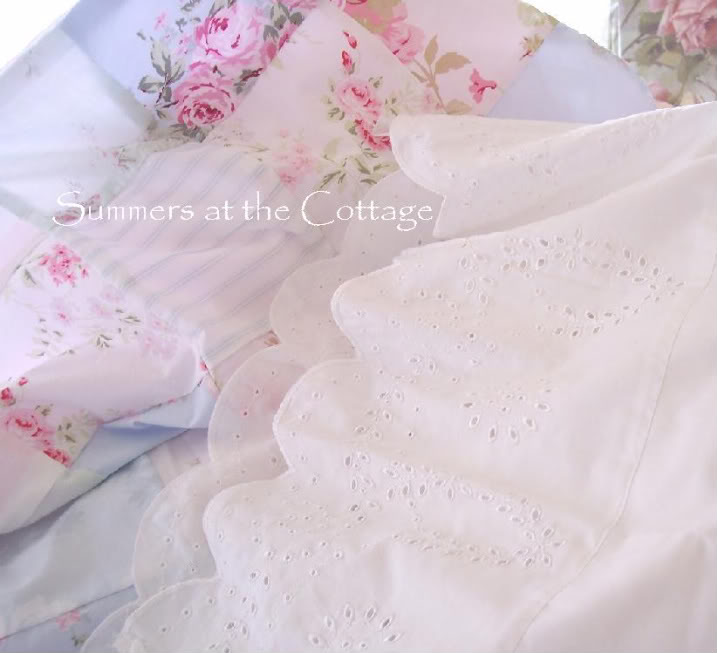 Cal King White Eyelet Lace Ruffle Sheets