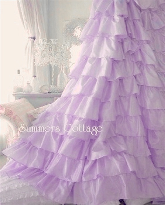 LAVENDER LILAC SATIN RUFFLES SHOWER CURTAIN SHABBY COTTAGE CHIC