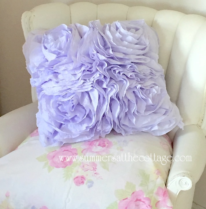 Lavender Fluffy Ruffle Roses Pillow