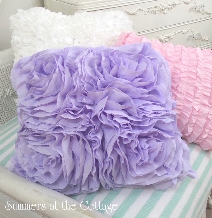 Lavender Fluffy Ruffle Roses Pillow