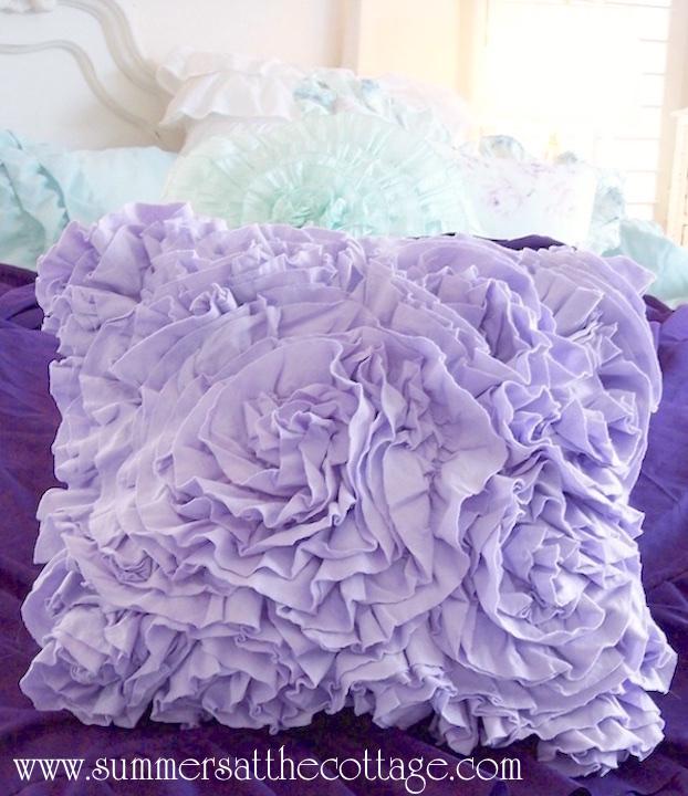 Lavender Blue Ruffles Amp Lace Roses Cottage Quilt Set