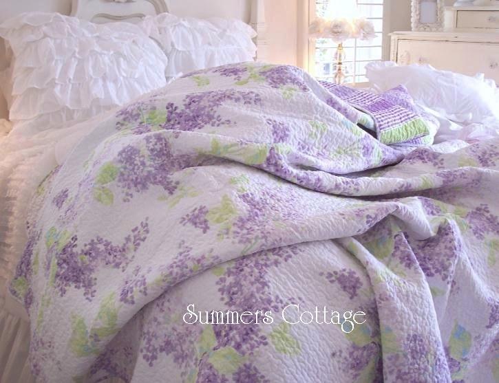 Lavender Lilac Quilt Set Shabby Chic