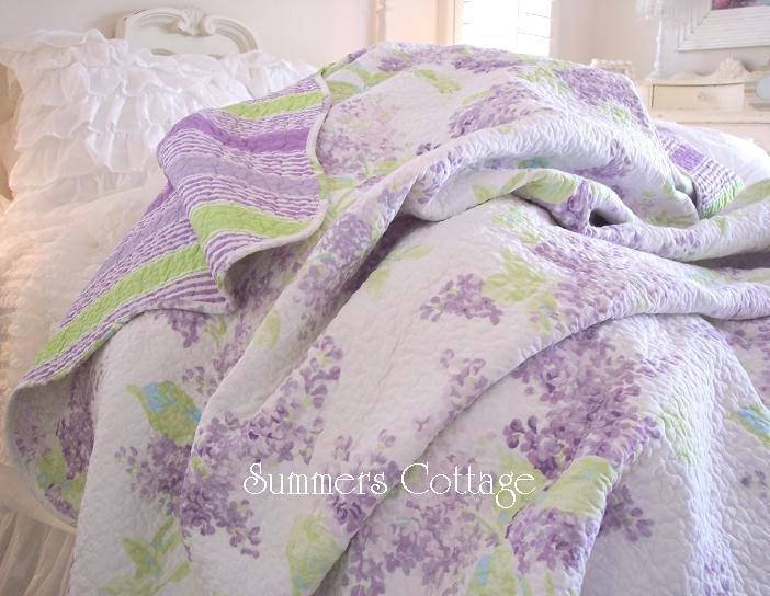 French Lavender Lilacs Throw Quilt