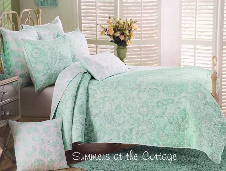 Mint Green Sea Glass Paisley Bedding
