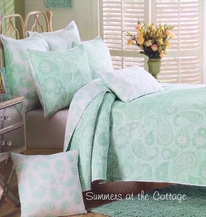 Mint Green Sea Glass Paisley Quilt Set