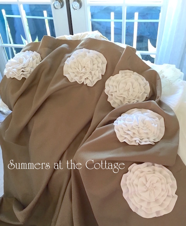 White Ruffle Roses Shower Curtain