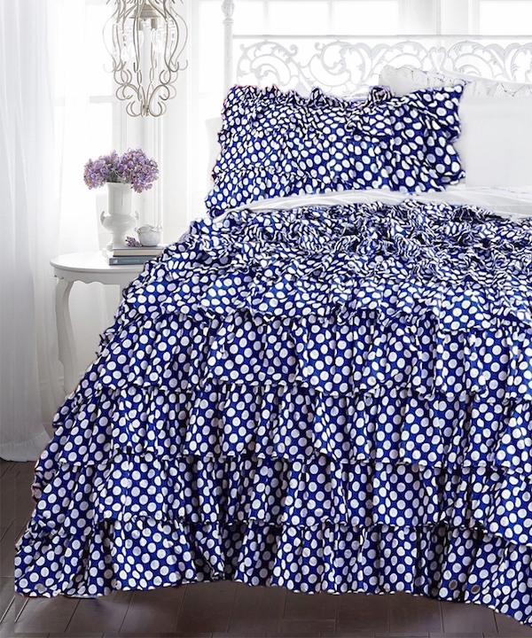 Navy Blue White Polka Dot Petticoat Ruffle Duvet Set