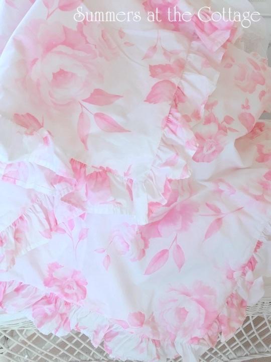 Shabby Chic Pink Vintage Roses King Duvet Ruffled Euros