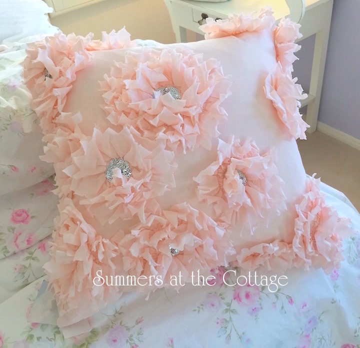 Pretty Peach Pink Ruffled Flowers Sequins Accent Pillow