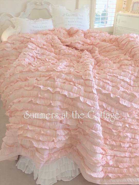 Blissful Cottage Peach Ruffle Bedding