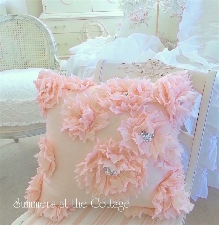 Cottage Ruffled Flowers Pillow